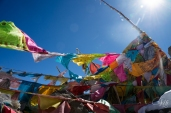 Prayer flags on the mountain pass